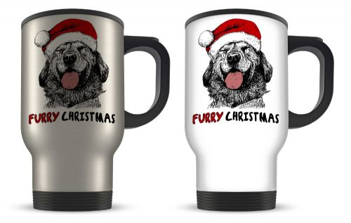 14oz Furry Christmas Dog Sketch Cute Christmas Novelty Gift Aluminium Travel Mug